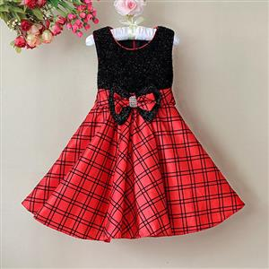 Black and Red Plaid Girl Dress, Sleeveless Black Glitter Princess Girl Dress, Bow Glitter Party Dress, #N9118