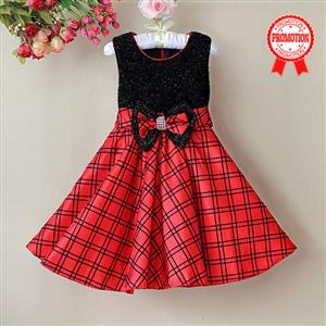 Black and Red Plaid Girl Dress, Sleeveless Black Glitter Princess Girl Dress, Bow Glitter Party Dress, #N9118