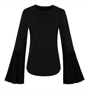 Black Long Sleeve Tops, Plain Round Collar Tops, Black Zipper Tops, Women