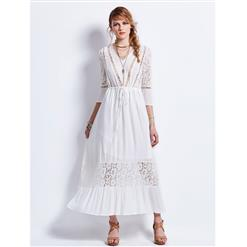 Ankle Length Dress for Women, White Lace Maxi Dress, Casual Long Maxi Dress, Wedding Maxi Dress, V Neck Dress for Women, Long Dress for Women, #N13081