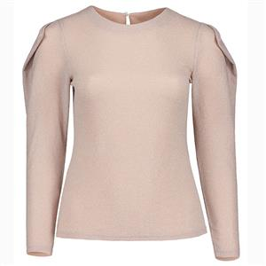 Long Sleeve Tops, Round Collar Tops, Plus Size Tops for Women, Slim Fit Tops, Pleated Tops for Women, Solid Color Tops, Plain Tops for Women, Pullover Tops, #N15546