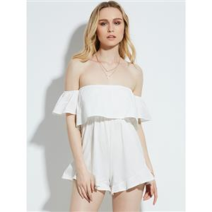 Rompers for Women, Plain Jumpsuits for Women, Off Shoulder Rompers, Sexy Rompers, Jumpsuit Romper, Fashion Jumpsuit, White Rompers, #N14969