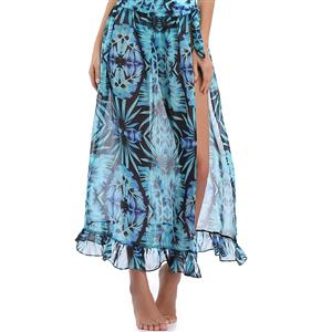 Sexy Blue Plant Print Cover Up, Women