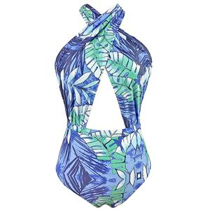Sexy Blue Plant Print Swimsuit, One-piece Plant Print Swimsuit, Sexy Criss Corss Halter Plant Print Swimsuit, #BK12618