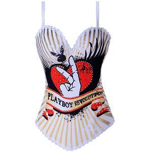 Playboy Icon Corset, Rhinestone Mounted Corset, Playboy Revolution Corset, #N1008