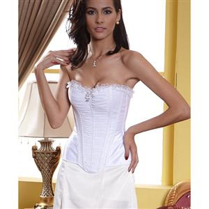 White Pleated Corset, Pleated White Corset, White Bride Corset, #N6733
