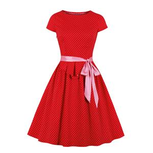 Lovely Red Pleated Waist Polka Dots Crew Neck Short Sleeve Tea Party Swing Dress N20123