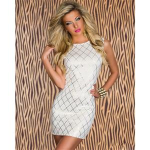 White Shining Square Mini Dress, Sleeveless Round Neck Dress, Hot Stamping Deep V Back Cocktail Dress, #N8783