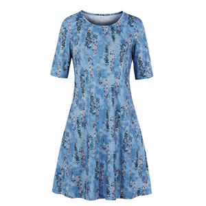 Fashion Printed Day Dress, Elegant Dress,Plus Size Printed Summer Dress for women, Country style Dress for Women, Vintage Dresses for Women, Spring Dresses for Women, Half Sleeve Dress, #N19206