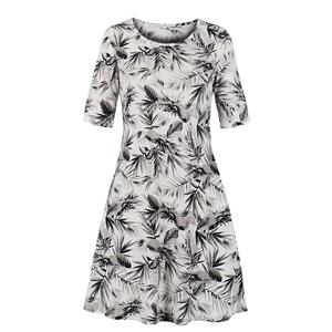 Chinese Style Bamboo Leaves Printed Day Dress, Elegant Chinoiserie Printed Dress,Plus Size Printed Summer Dress for women, Country style Dress for Women, Vintage Dresses for Women, Spring Dresses for Women, Half Sleeve Dress, #N19210