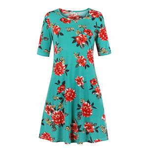 Floral Printed Day Dress, Vintage Floral Print Dress,Plus Size Printed Summer Dress for women, Country style Dress for Women, Vintage Dresses for Women, Spring Dresses for Women, Half Sleeve Dress, #N19212