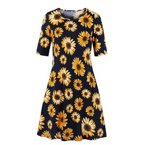 Floral Printed Day Dress, Vintage Floral Print Dress,Plus Size Printed Summer Dress for women, Country style Dress for Women, Vintage Dresses for Women, Spring Dresses for Women, Half Sleeve Dress, #N19213
