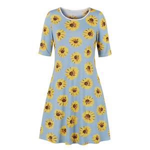Floral Printed Day Dress, Vintage Floral Print Dress,Plus Size Printed Summer Dress for women, Country style Dress for Women, Vintage Dresses for Women, Spring Dresses for Women, Half Sleeve Dress, #N19214