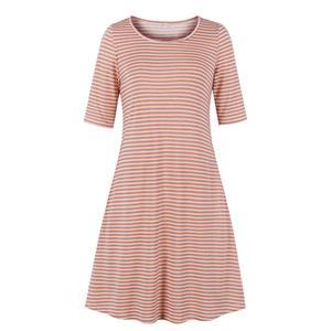 Fashion Pinstripe Day Dress, Vintage Pinstripe Print Dress,Plus Size Printed Summer Dress for women, Country style Dress for Women, Vintage Dresses for Women, Spring Dresses for Women, Half Sleeve Dress, #N19215
