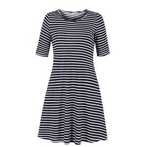 Fashion Pinstripe Day Dress, Vintage Pinstripe Print Dress,Plus Size Printed Summer Dress for women, Country style Dress for Women, Vintage Dresses for Women, Spring Dresses for Women, Half Sleeve Dress, #N19216