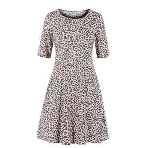 Sexy Leopard Print Day Dress, Vintage Leopard Print Dress,Plus Size Printed Summer Dress for women, Country style Boho Dress for Women, Vintage Dresses for Women, Spring Dresses for Women, Half Sleeve Dress, #N19220
