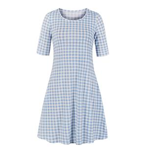 Fashion Check Print Day Dress, Vintage Check Dress,Plus Size Summer Dress for women, Country style Plaid Dress for Women, Vintage Dresses for Women, Spring Dresses for Women, Half Sleeve Dress, #N19222