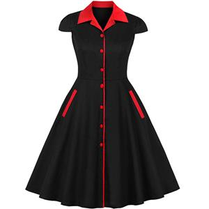 Plus Size Vintage Black and Red Chinoiserie Lapel Short Sleeves Reformed Cheongsam High Waist Midi Dress N18656
