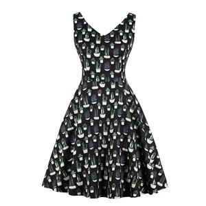 Plus Size Dress for Women, Plus Size Retro Print Dress, Gothic Dresses for Women, Plus Size Cocktail Party Dress, Elegant Party Dress, Vintage V Neck Sleeveless Swing Dresses, A-line Cocktail Party Swing Dresses, High Waist Vest Dress, #N20763