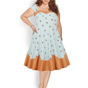 Plus Size Dresses for Women, Cute Wide Straps Swing Dress, Plus Size Retro Dresses for Women 1960, Vintage Dresses 1950