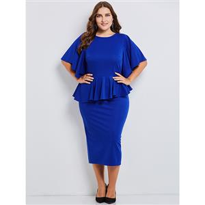 Royalblue Dress Plus Size, Round Neck Dress, Flare Sleeve Party Dress, Plus Size Dresses for Women, Royalblue Dress Plus Size, Sexy Party Dress for Women,Plus Size Bodycon Dress#N15539