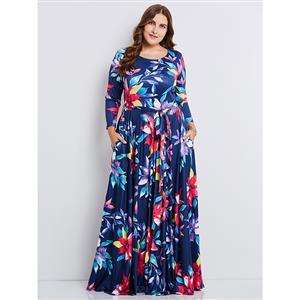 Blue Dress Plus Size, Round Neck Dress, Long Sleeve Dress, Plus Size Dresses for Women, Floral Print Dress Plus Size, Sexy Party Dress for Women, #N15347