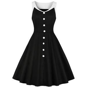 Vintage Plus Size Dress, Plus Size Dress for Women, Vintage Lapel Dress, Plus Size Vintage Dresses for Women, Sexy Black Dresses for Women Cocktail Party, Vintage High Waist Dress, Sleeveless Swing Daily Dress, Vintage Black and White Swing Dress, #N18585