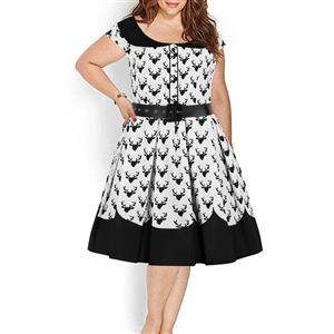 Plus Size Dress for Women, Plus Size Retro Black and White Dress, Gothic Dresses for Women, Plus Size Cocktail Party Dress, Elegant Party Dress, Vintage Lapel Short Sleeves Swing Dresses, A-line Cocktail Party Swing Dresses, Round Neck Vintage Day Dress, #N18658