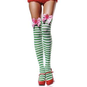 Stripe Thigh Highs, Sexy Stockings,  Santa Thigh Highs, #HG2842