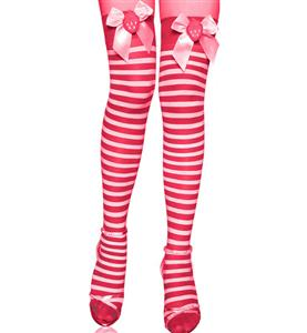 Stripe Thigh Highs, Sexy Stockings, Santa Thigh Highs, #HG4319