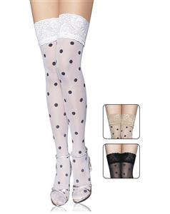 Sheer thigh highs stocking, Sheer thigh highs, Polka Dot Thigh Highs With Lace Top, #HG4476