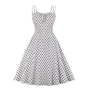 Adorable Polka Dots Strappy Sleeveless High Waist Summer Tea Party Swing Dress N20161