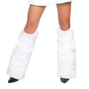 Pom Pom Leg Warmers, Faux Fur Legwarmers, White Legwarmers, #N4613