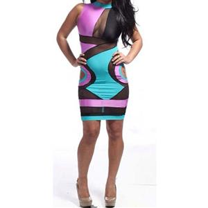 Popular Colourful Bodycon Dress, Mesh insert Sleeveless Dress, Cut Out Mesh Knee Length Dress, Sexy Clubwear Bodycon Dress, Sexy Club Dress, #N9241