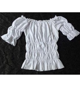 Elastic White Shirt, Slim Cotton Short Shirt, Baby Doll Shirt, Wide Collar Tight Shirt, #N9331