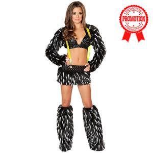 Spike Fur Suspender Skirt Set, Black Furry Rave Animal Set, Black White Gogo Dancer Outfit, #N8756