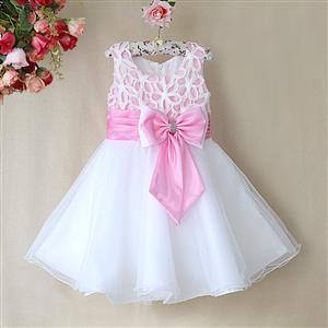 Pink and White Birthday Girl Dress, Sleeveless Applique Work Princess Girl Dress, Mesh and Satin Occasion Dress, #N9095