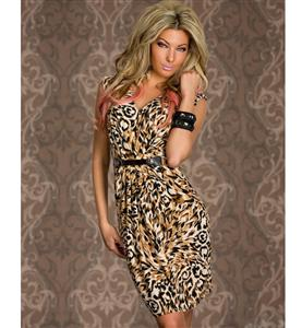 Animal Leopard Printed Dress, V-neck Sleeveless Print Dress, Fashion Dress with Metallic Belt, #N7629