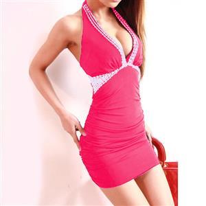 Backless Rose Bag Hip Dress, Sexy Hot Deep EA V-Neck Dress, Low-Cut Gold Sequin Dress, #N6852