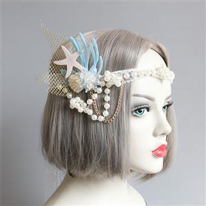Bead Pendant Headwear, Princess Style Hair wear, Fashion Hair Band for Women, Pearl Hair Ornament, Coral Hair Accessory, Lace Headwear,Starfish Hair Accessory, #J20191