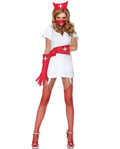 Psycho Nurse Sally Costume, Cross Mask Nurse Costume, Psycho Nurse Costume, #N8546