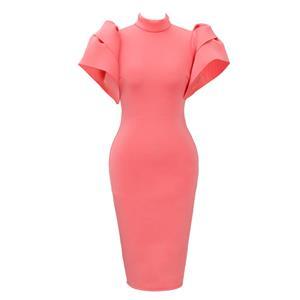Pink Puff Sleeve Dress, High Neck Bodycon Dress, Pink Women