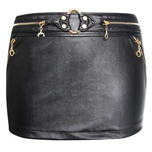 Punk Black Faux Leather Mini Skirt HG10237