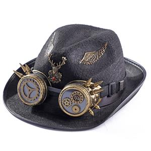 Fancy Vampire Masquerade Party Costume Hat, Steampunk Halloween Cosplay Costume Hat, Retro Fascinator Fancy Ball Top Hat, Vintage Industrial Style Vampire Costume Hat, Fashion Party Costume Hat Accessory, Fancy Victorian Gothic Fascinator, Gothic Style Costume Hat, #J21219