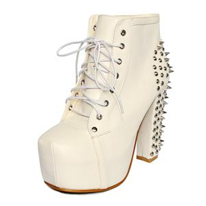 Rivets Chunky High Heel Ankle Boots, Punk Lace-up Platform Boots, Rivets White Boots, #SWB80020