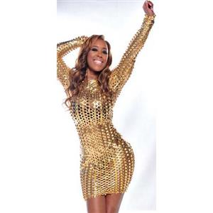 Punk Sexy Golden Hollow Out Long Sleeves Mini Dress N10502