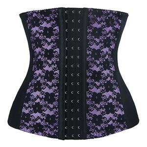 9 Steels Boned Bustier Corset, Cheap Purple Lace Bustier, Women
