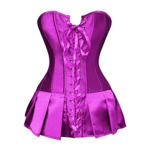 Skirted Corset, Basque Bustier Corseted Skirt, Purple Satin Skirted Corset, #N5687