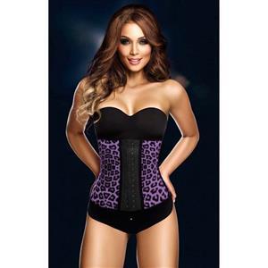 Sexy Purple Steel Bone Latex Leopard Patterns Underbust Corset N10361