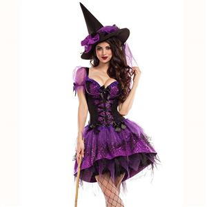 Black Witch Costume, Vintage Witch Halloween Party Dress, Sexy Purple Witch Costume, Liquid Purple Witch Womens Costume, Witch Adult Costume, #N14747